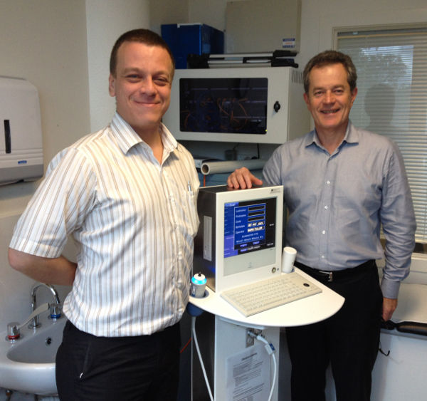 Clinical Nurse Consultant, Mark Fuller and Dr Mark Cornwell of the Lismore LIver Clinic with the new Fibroscan machine; Image and article all rights reserved by the author