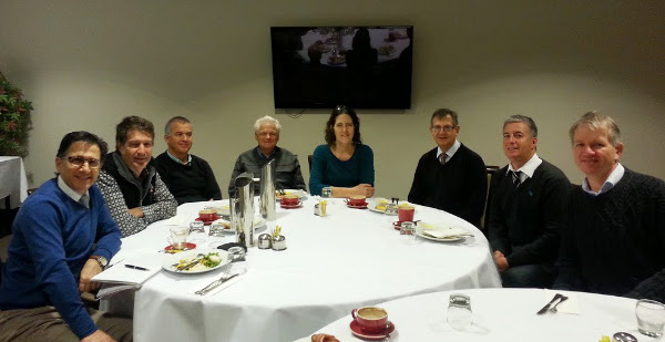 Chewing the fat - NRGPN members David Sare, Brian Witt, Andrew Binns, Sue Page and David Guest are flanked by NCML executive members Vahid Saberi, Chris Clark and Tony Lembke at the Lismore breakfast meeting on 1 July 2014 discussing the future for both organisations