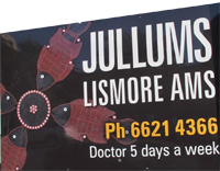 Jullums sign at Uralba St Lismore