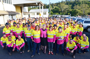 Lismore City Council Purchasing Officer Rod Thistleton, Mayor Jenny Dowell and Technical Officer Carolyn Moynihan (front) with Council staff in their pink workshirts supporting the Real Men Wear Pink campaign.