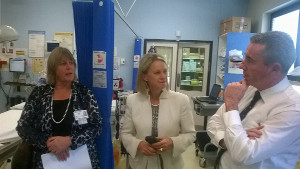 Kevin Hogan and NNSW LHD Executive director Lynne Weir (left) brief Assistant Minister for Health Senator Fiona Nash about the upgrade of Casino Hospital ED during a recent visit.