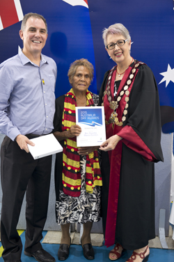 Rev. Dorothy Harris-Gordon, who was announced as the City of Lismore's Debra Rhodes Aboriginal Citizen of the Year, with Australia Day Ambassador Clyde Campbell and Mayor Jenny Dowell.