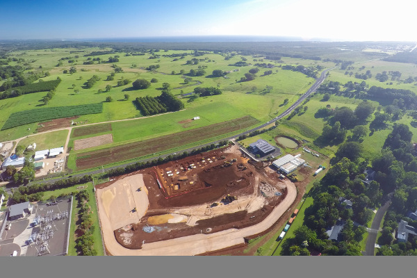 Aerial view of the Byron Central hospital construction site at Ewingsdale, looking north-east.