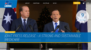 Prime Minister, Tony Abbott, and former Health Minister, Peter Dutton, announcing changes to Medicare