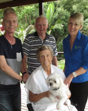 Johanna van den Berg, with 'Snowy', husband Gerry, son Raymond and senior nurse Kelly Northeast.