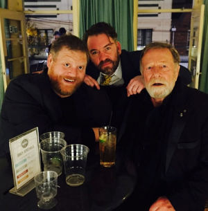 Actor (and former GP Speak editor) Aaron Bertram with former university mate Brendan Cowell, director of Ruben Guthrie, and Jack Thompson, one of the leading cast members