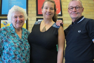 Volunteers Joy Hall and Philip Penwright, with Social Inclusion worker, Jessica McDonald.