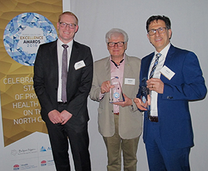 L-r, Chris Bedford, Assistant Secretary, Primary Health Networks, Department of Health, award winner Dr Andrew Binns and Dr Vahid Saberi, North Coast PHN chief executive.