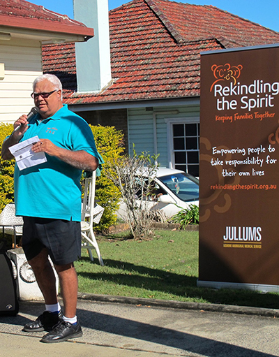 Bundjalung Elder Mick Roberts delivers the Welcome to Country
