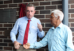 Page MP Kevin Hogan with Uncle Harry Walker Mundine at the official opening of the Djanangmum Health Clinic in Casino.