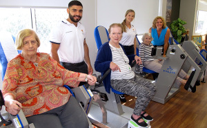 Physiotherapist and researcher Jennie Hewitt with Feros Care Wommin Bay residents (l-r) Cleo Bell, Julie Knox and Bren Catchpole, and USyd physiotherapy students Dom Dagher and Chelsea Clark.