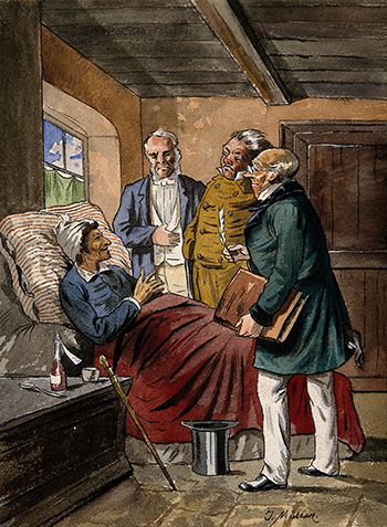 https://commons.wikimedia.org/wiki/File:A_sick_man_at_home_in_bed_discussing_his_case_with_three_phy_Wellcome_V0016079.jpg