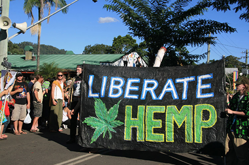 Protest at Nimbin Mardigrass, photo dated 2008 by Mombas2 Peter Terry [CC BY-SA 3.0 from Wikimedia Commons]