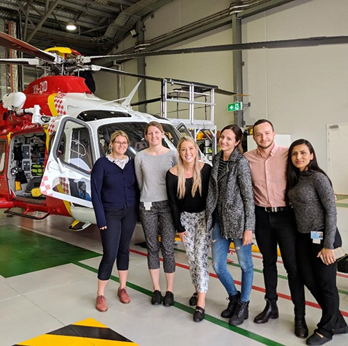 UOW Lismore Hub  students visiting Westpac Rescue Helicopter Service on their first Regional Academic Day