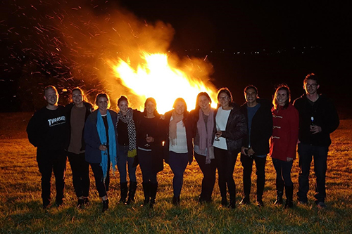 Murwillumbah students share the warmth around a bonfire