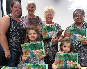 At the launch of 'Growing up on Widjabul Wia-bal Country' were (l-r) Sarah Black from Friends Child Care Centre, Shauna McIntyre, project coordinator, Lynette Funnell Lismore Pre School, Elder Aunty Thelma James, and sisters Audrey (aged 7) and Eliza (5) Zwiers who have Wiradjuri heritage through their father.