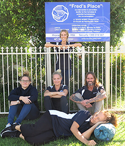 Ready for the Fred's Place Tweed Heads community sleepout on Thursday 29 August are (l-r) Jessica Peebles, Alysia Hopkins (Fred's Place coordinator), Megan Claeys (standing), Paula Vermunt and David Holmes.