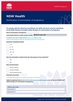 NSW Health Notification Form