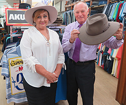 Joanne Hourigan and Peter Gooley from local Akubra stockists George Gooley Menswear. Photo by Robin Osborne